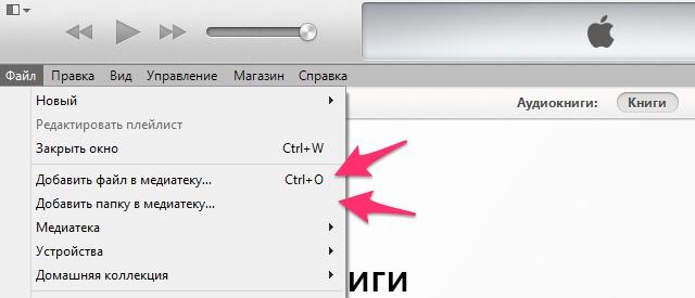 Добавить файл или папку в медиатеку