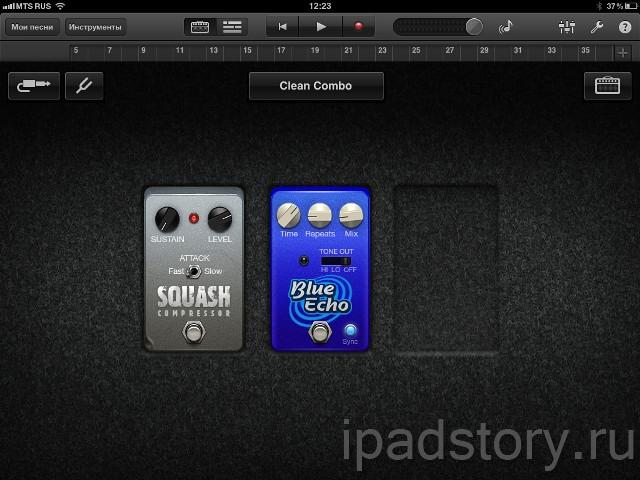 Guitar Amp в GarageBand на iPad