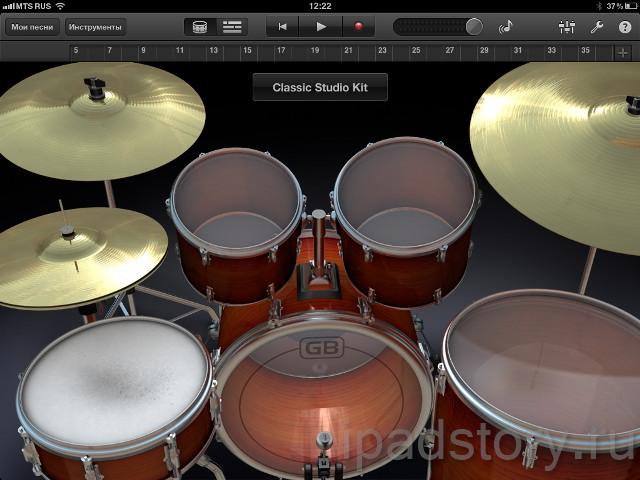 GarageBand - барабаны - Drums на iPad