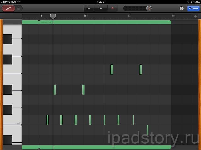 редактирование нот в уже записанных партиях в GarageBand на iPad