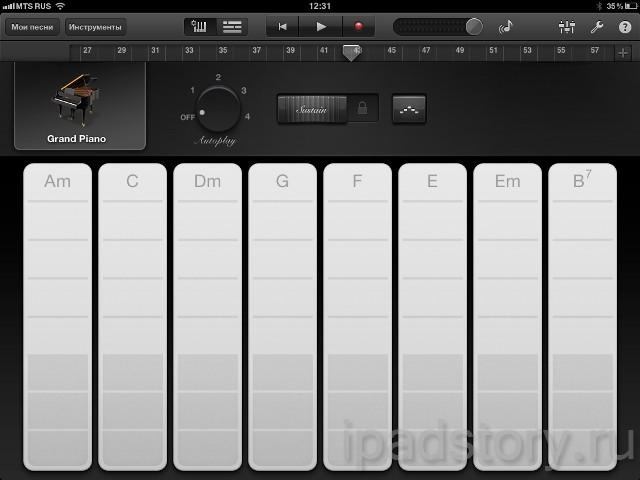 Smart Keyboard в GarageBand на iPad