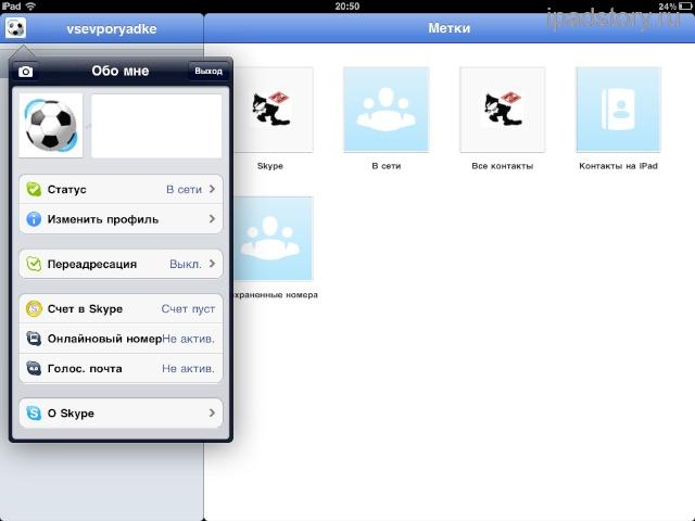 Скайп для iPad