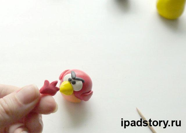 Красная птичка Angry birds из полимерной глины, МК, шаг 7
