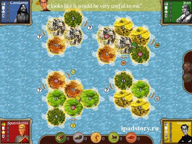 The Four Islands I (Четыре острова 1) - карты игры Катан для iPad