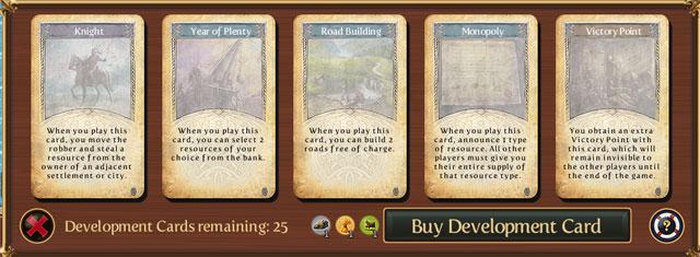 карточки развития в игре Катан на iPad