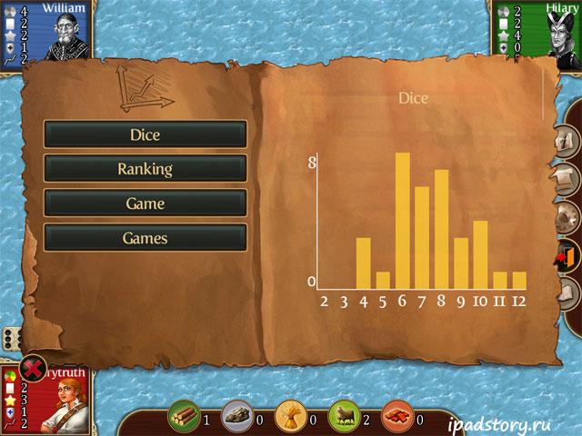 Статистика выбросов кубиков, игра Катан на iPad