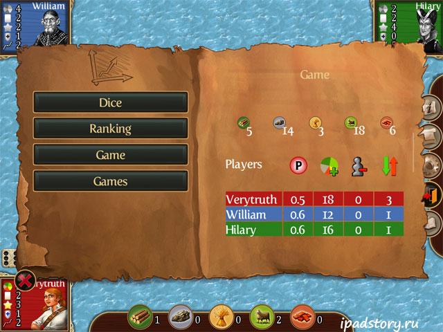 Статистика игры Катан на iPad
