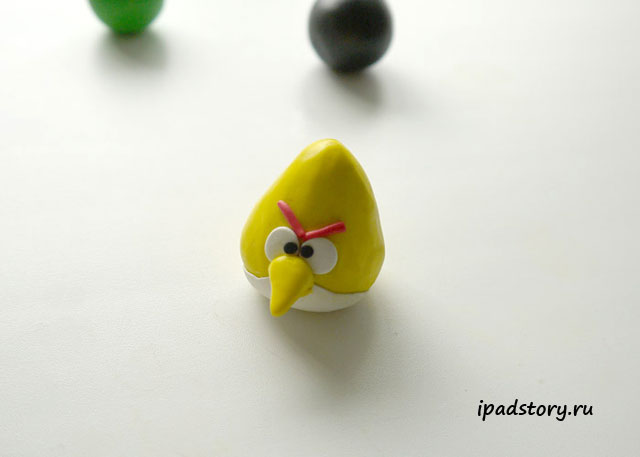 мастер-класс по созданию желтой птички из игры Angry Birds, полимерная глина