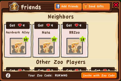 Dream Zoo на iPad - добавление и поиск друзей, соседей