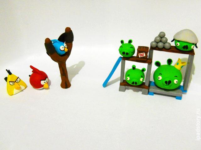 птички из игры Angry Birds, полимерная глина, автор работы Kathrin