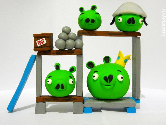 поросята из игры Angry Birds, полимерная глина, автор работы Kathrin
