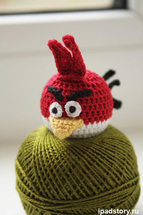 красная птичка из игры Angry Birds вязаная крючком, работа Vivastar