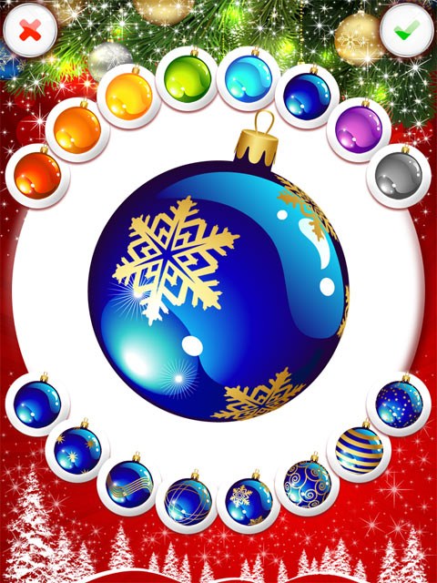 украшаем шар в приложении Ёлка! на iPad