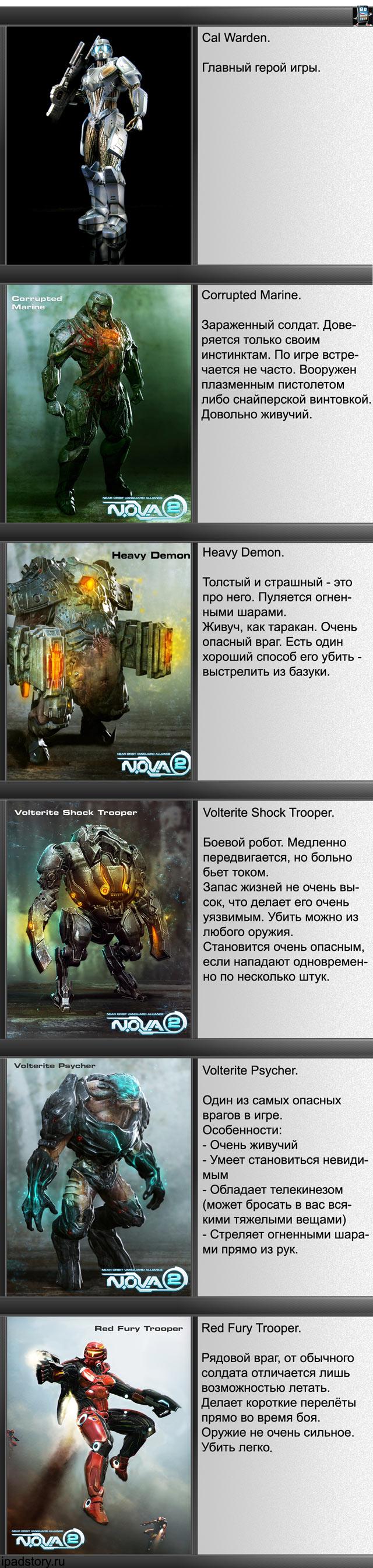 N.O.V.A. 2 - Near Orbit Vanguard Alliance HD - виды врагов, шпаргалка для игроков