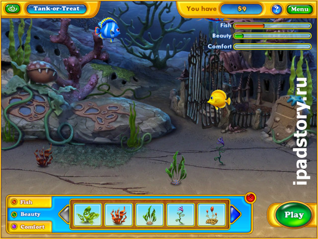 аквариум в игре Fishdom: Spooky Splash HD