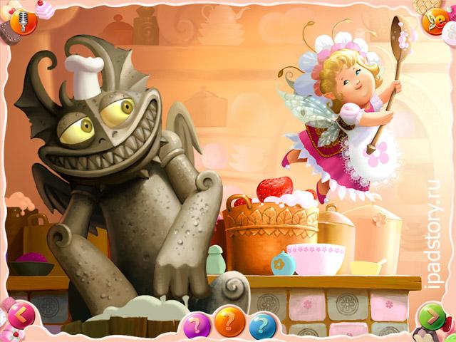 скриншот из книги Эльфишки и Огромный торт на iPad