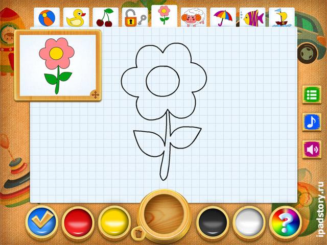 Рисование и раскраска - скриншот из программы для iPad