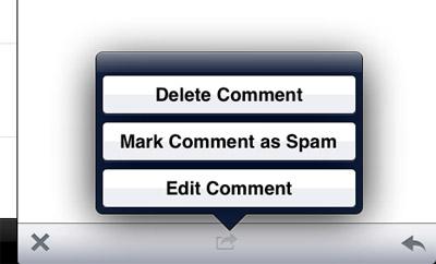 WordPress на iPad - управление комментариями