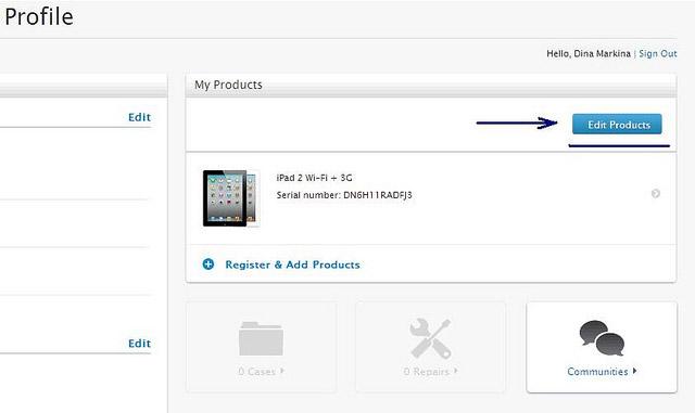 Удалить iPad из своих продуктов на сайте Apple