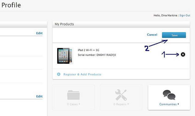 удаление планшета из привязанных к вам устройств на сайте Apple