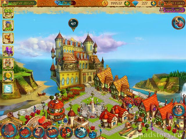 улучшение замка в игре Волшебное королевство на iPad