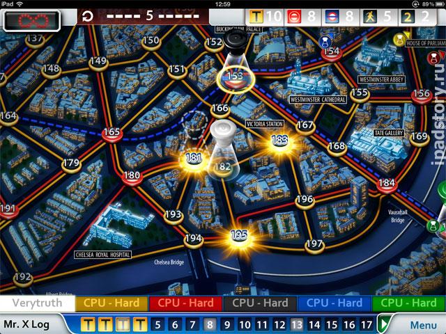 Scotland Yard на iPad - игровое поле