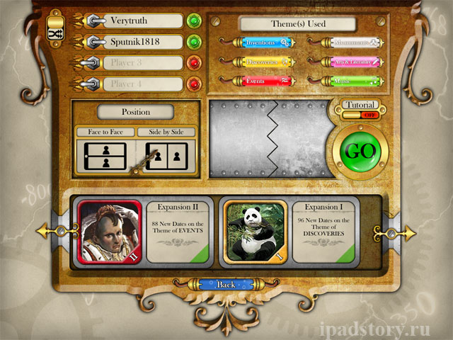 Timeline for iPad. выбор режима игры