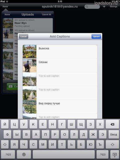 Веб альбомы Пикаса на iPad