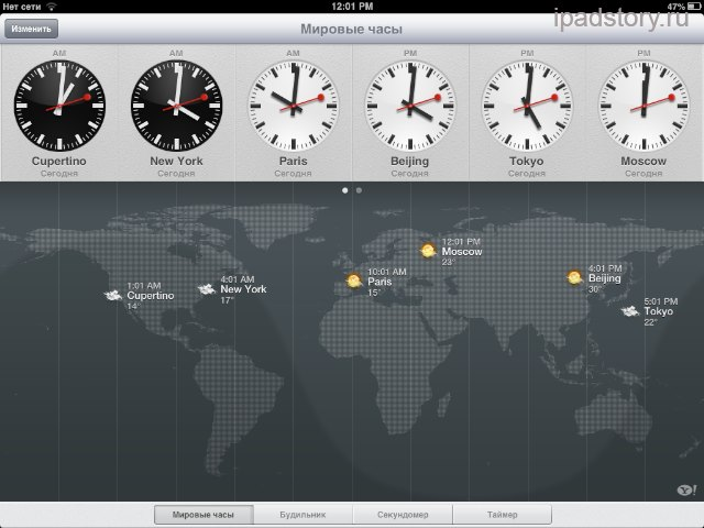 приложение часы на iPad
