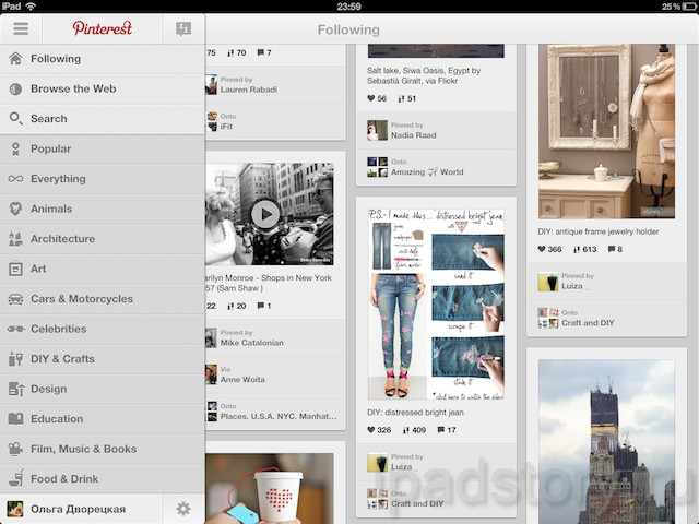 Pinterest — социальный интерес для  iPad