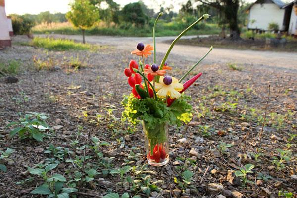 букет из овощей и фруктов (делала в подарок Диме)