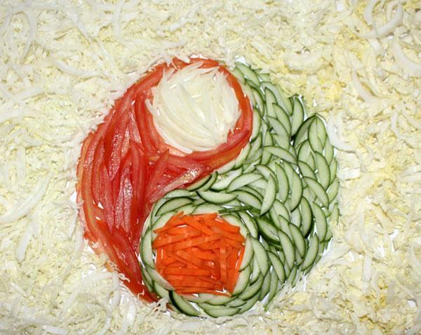 салат (из капусты, помидоров, огурцов, моркови и лука)