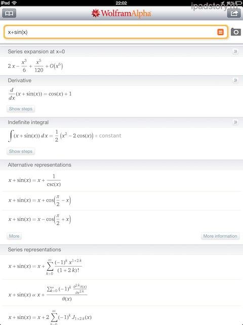 Wolfram Alpha на iPad