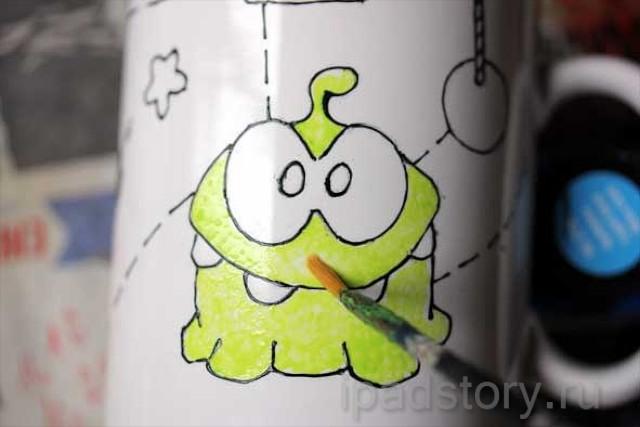рисуем кружку с героем игры Cut The Rope на iPad