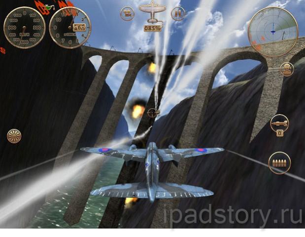 игра Sky Gamblers: Storm Raiders на iPad - скриншоты во время боя