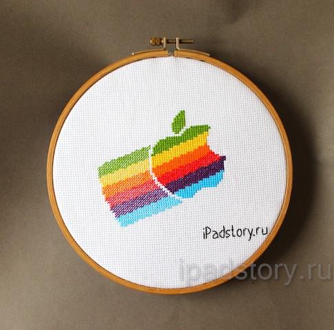 вышивка крестиком: логотип фирмы Apple