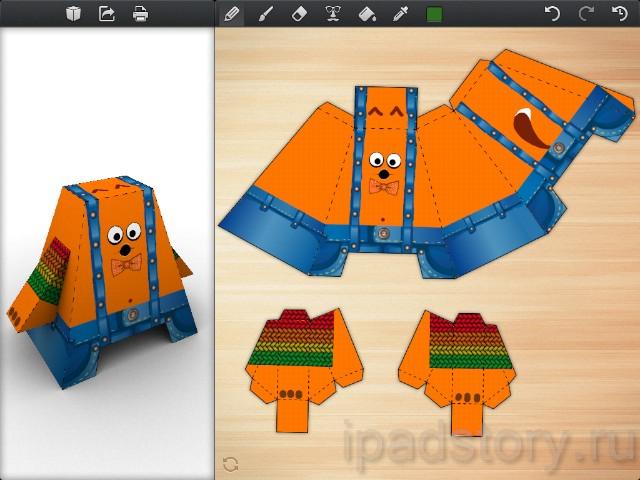 А вот так – после нашего с дочкой рисования фигуры хитрого оранжевого то ли кота, то ли лиса, в джинсовом комбезе на подтяжках.