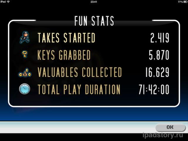 Такова вся игра — освобождать Джека, снимая эпизоды на как можно меньшее количество плёнки. Каждый уровень имеет трёхзвёздочный счёт, а также посредством сообщества игроков выявлены реальные максимальные очки, которые только можно получить. Эти очки можно найти в специальной таблице (кстати, для тех, кто играет и в другие игры DG таблица также будет полезной).  Настройки  Среди настроек приложения особо стоит отметить пункт забавной статистики. Из него вы можете узнать, сколько дублей вы сняли, сколько ключей и денег собрали, а также сколько времени провели в игре.