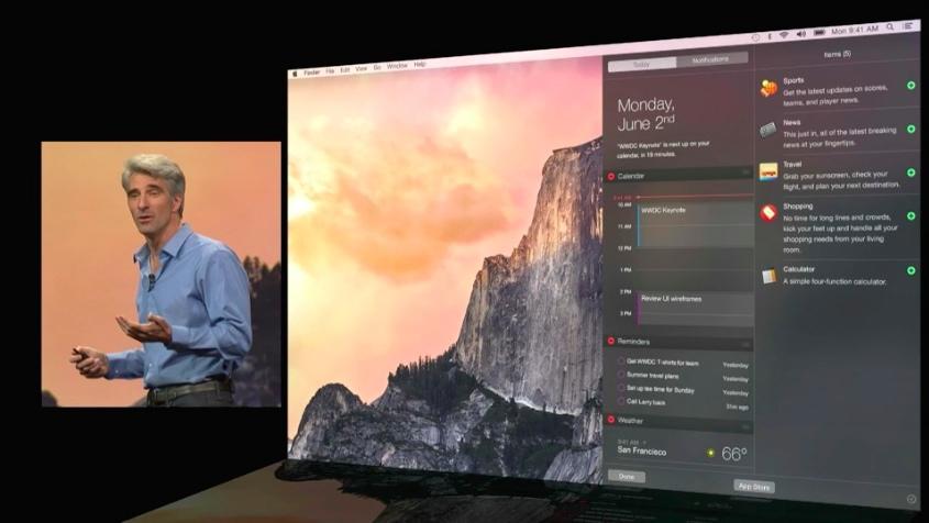 Центр уведомлений OS X Yosemite