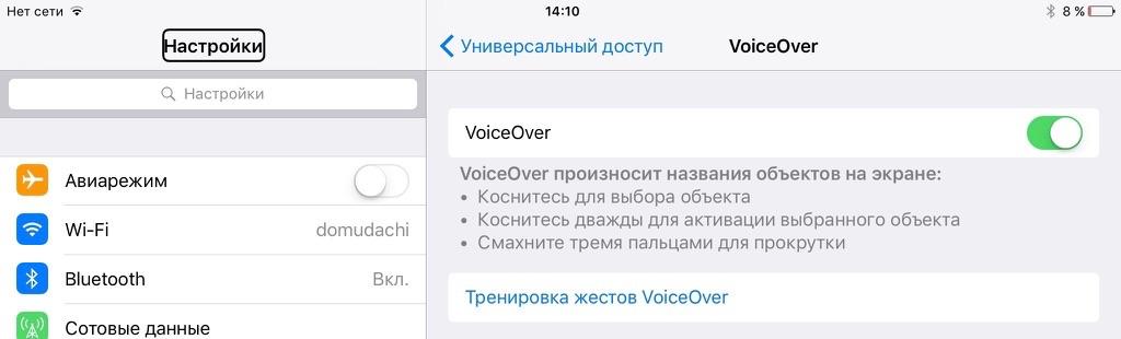 Voice Over тренировка жестов