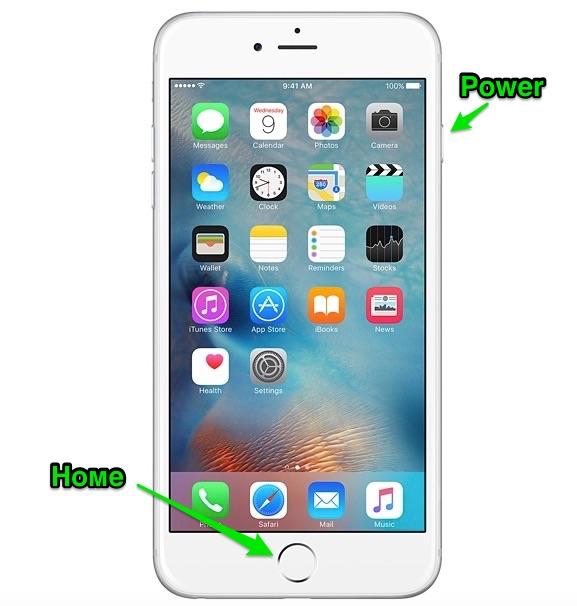 Home и Power iPhone