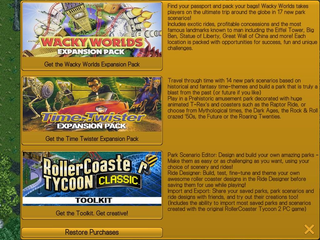 RollerCoaster Tycoon Classic iPAd
