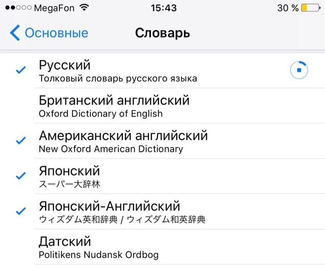 словарь в iBooks