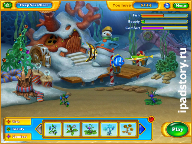 аквариум в игре на iPad Fishdom: Frosty Splash HD