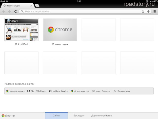 Google Chrome на iPad