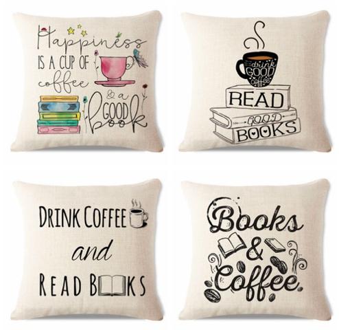 Кофе и книги - наволочка на подушку с Алиэкспресс